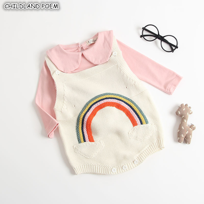 Baby Girl Clothes New Born Baby Knitted Clothes Rainbow Infant Newborn Baby   Rompers   For Girls Boys Jumpsuit Baby Girl   Romper