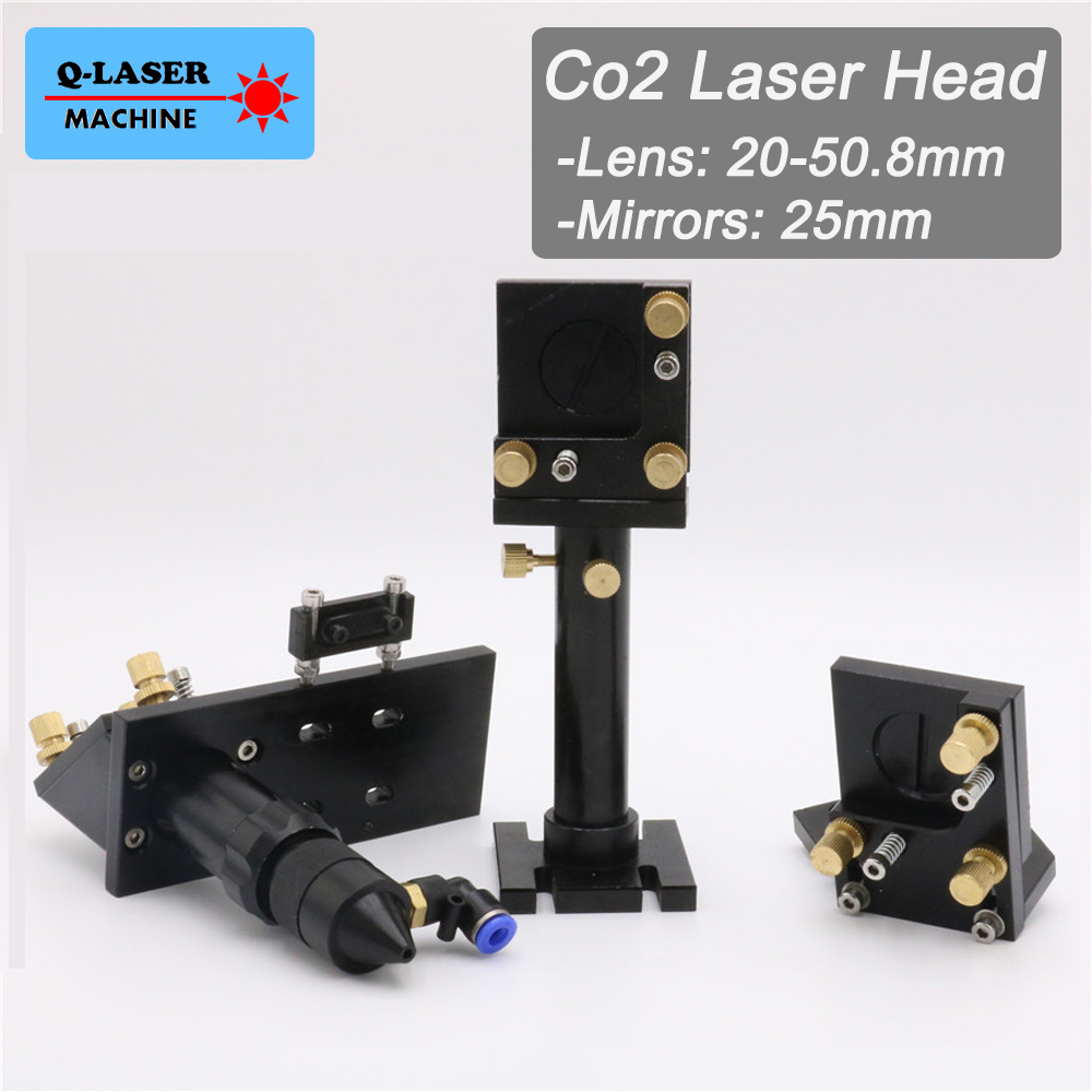 Whole Set CO2 Laser Head Mirror Lens Integrative Mount Houlder for Focus Lens 20-50.8mm and Mirror 25mm laser head engraving laser cutting head for 20mm laser focus lens 25mm laser mirror