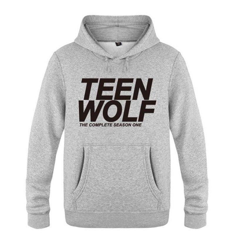 Mens Hoodies Teen Wolf Letter Printed Hoodie Men Fleece Long Sleeve Skate Men's Sweatshirt Pullover Tracksuit Moleton Masculino