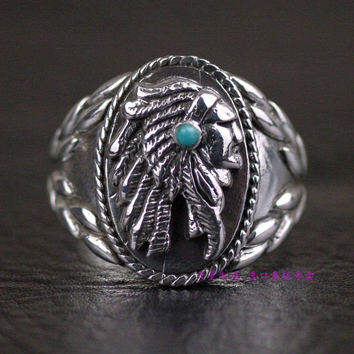 Thailand, Silver Indian Chief Head Ring thailand sterling silver indian patron saint feathers ring