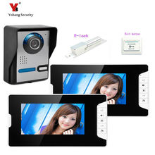 Yobang Security home interface hands-free 7 inch color video door phone with night version IR camera video door+Electric lock