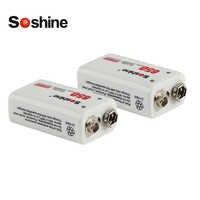 Soshine 2pcs 650mAh 9V Li-ion Lithium Rechargeable Battery for Electronic Smoke Guitar EQ + Battery Case Storage Box