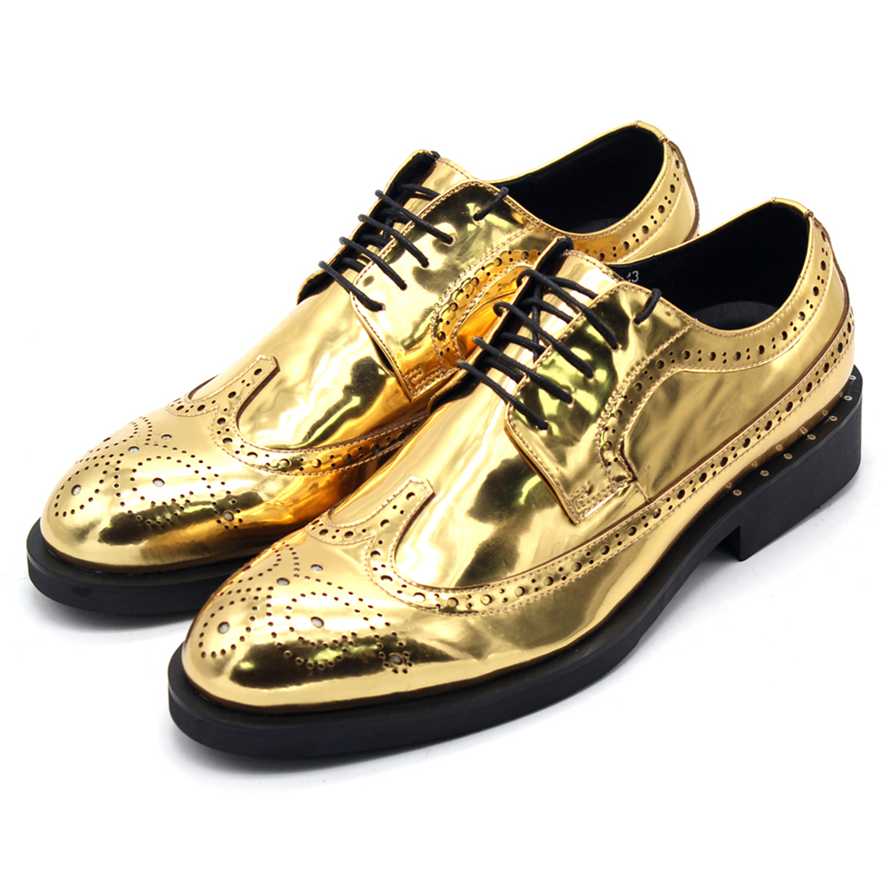 Gold leather shoes men Classic Bullock mirror carved mens