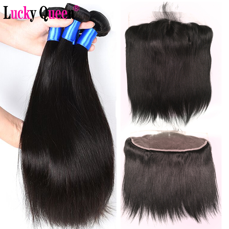 Peruvian Straight Hair Bundles With Frontal 4pcs lot Non Remy Human Hair Bundles With 13 4