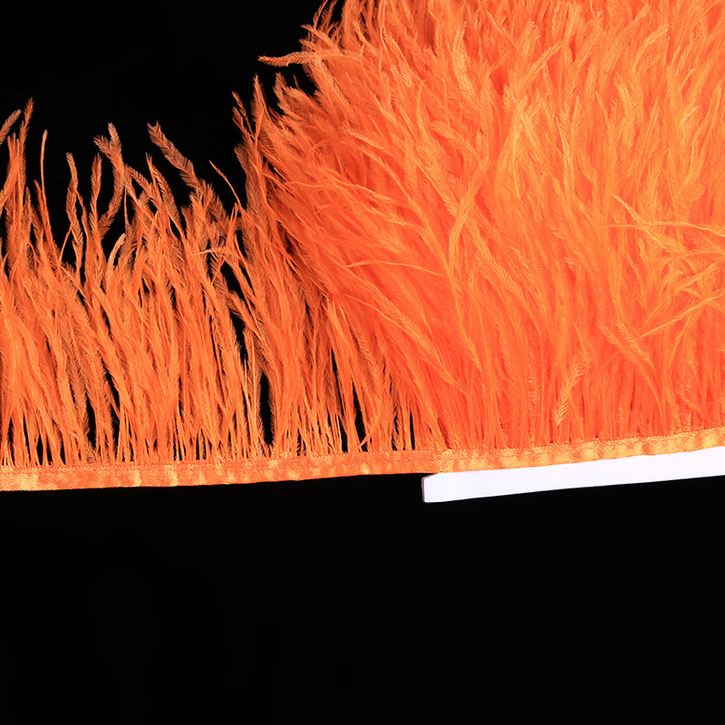 10 Yards/lot Long Ostrich Feather Plumes Fringe trim 8-10cm Feather Boa Stripe for Party Clothing Accessories Craft