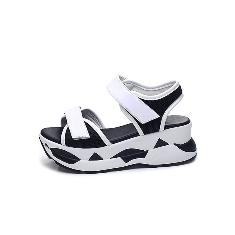 2017 Summer Shoes Woman Platform Sandals Women Genuine Leather Casual Open Toe Gladiator Sandals Wedges Women Shoes 2017 gladiator summer shoes woman platform sandals women flats soft leather casual open toe wedges sandals women shoes r18