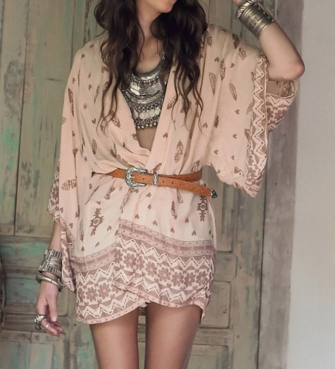 Women Shirt Kimono Boho Cardigan Vintage Geometric Print Blouse Loose Shawl Lady Bohemian Coat Jacket Two Color 4