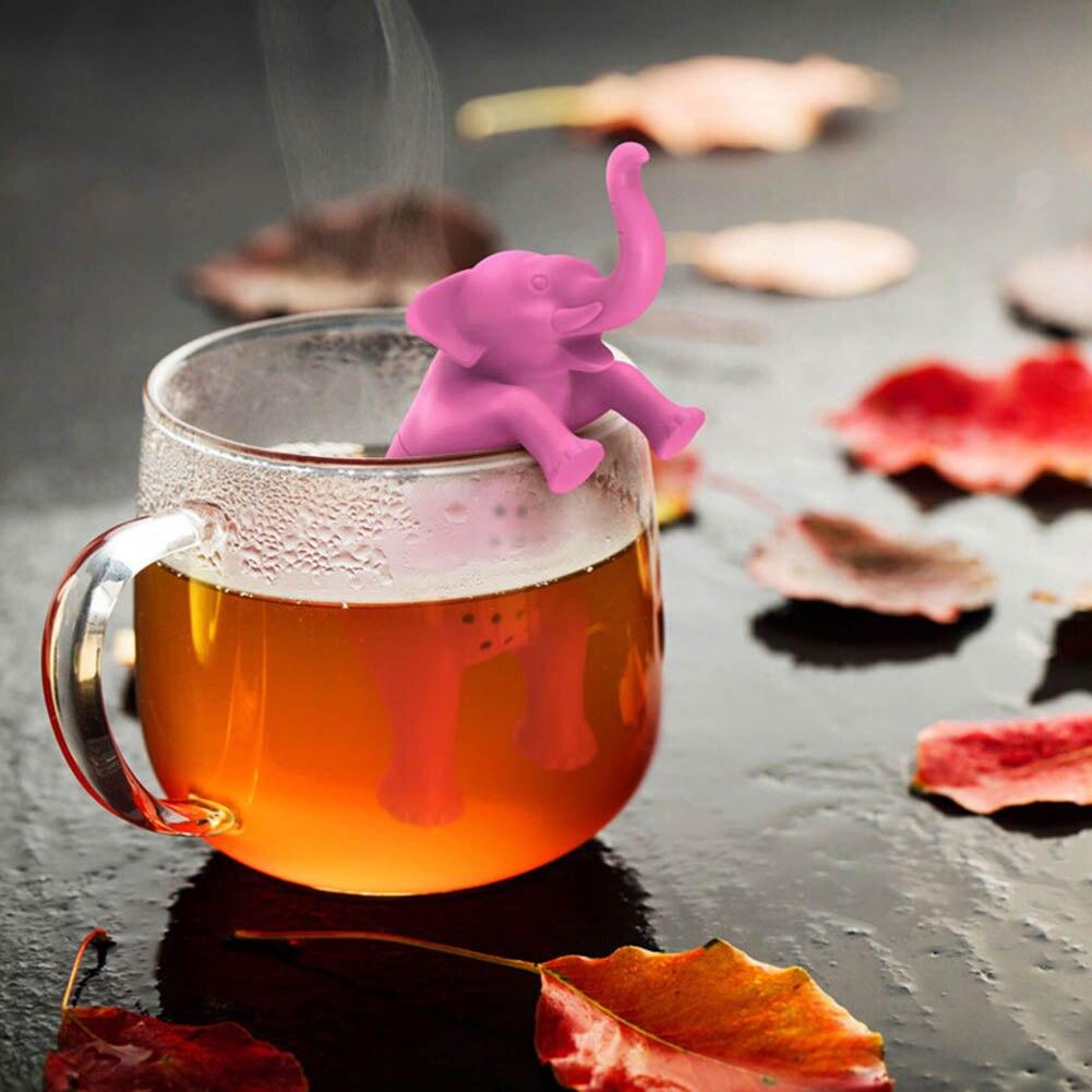 1Pcs Environmental Cartoon Elephant Shape Tea Bag Strainers Reusable Tea Strainer Coffee Herb Filter Teaspoon Tea Device Pink
