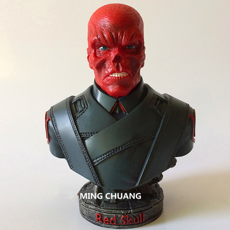 Statue Supervillain Red Skull Bust Captain America Enemy Half-Length Photo Or Portrait Resin Action Figure Collectible Model Toy wwii hms surprise captain jack resin soldier bust model resin bust master and commander