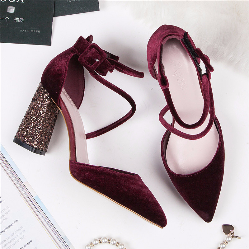 Pointed Toe High Heels Shoes 2019 Summer Sexy Flock Surface Bling Block Heels Pumps Women Fashion Closed Toe Sandals Wine Red