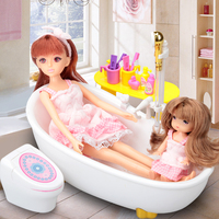 Free Shipping Vinyl PVC Dolls Toy, Fantasy Toy Dolls Gift for Girls, Mini Bath Room Doll Set With Electronic Sprinkler Bathtub