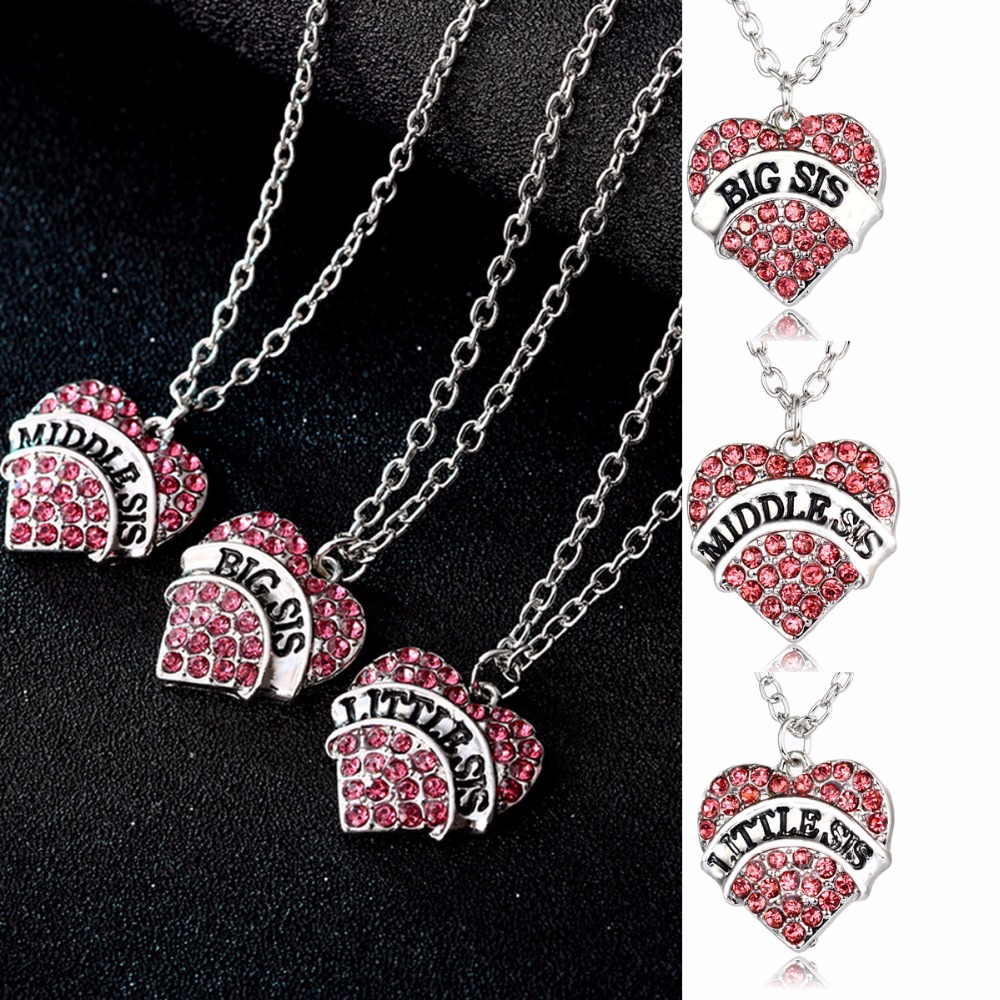 Fashion Big Middle Little Sis Sister Necklaces Pink Crystal Heart Pendants Chain Necklace Family Women Gifts BFF Friends Jewelry