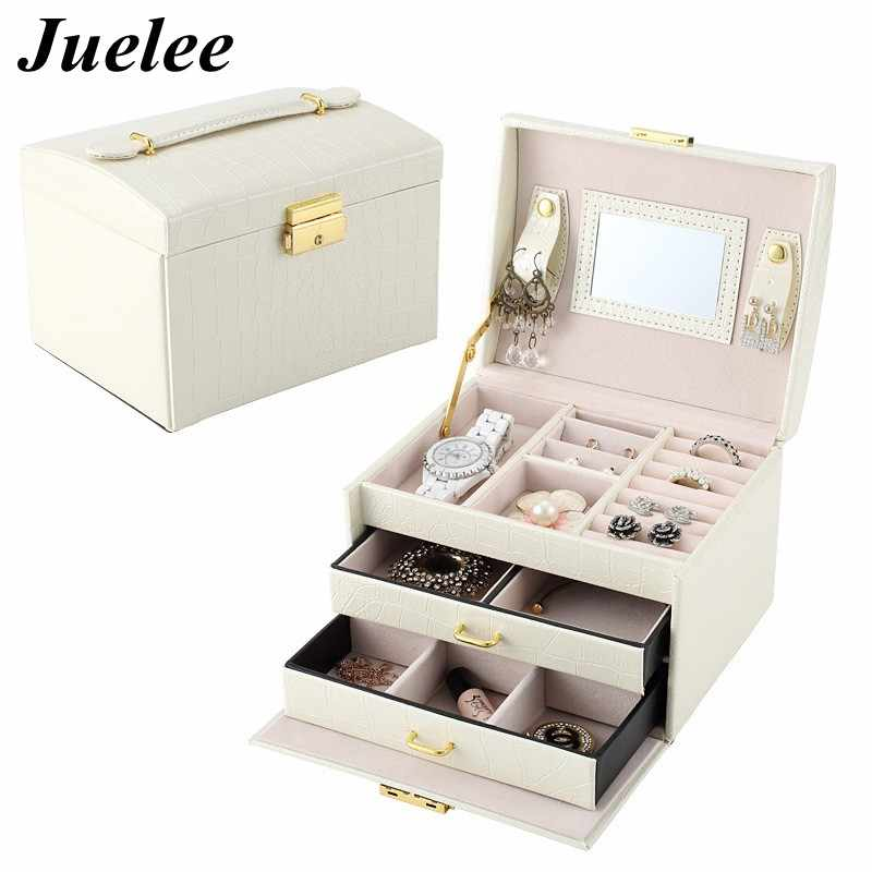 Juelee alta qualidade crocodilo padrão de couro do plutônio jóias caixas três gaveta dupla jóias exibição caixa presente
