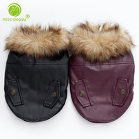 Fur Collar Dog Clothes Pet Luxury PU Leather Jacket Coats For Dog Autumn Winter Warm Dog