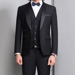 Черные смокинги для жениха на свадьбу, мужские костюмы для выпускного вечера, 3 предмета, для курения, формальные, облегающие, для торжествен...