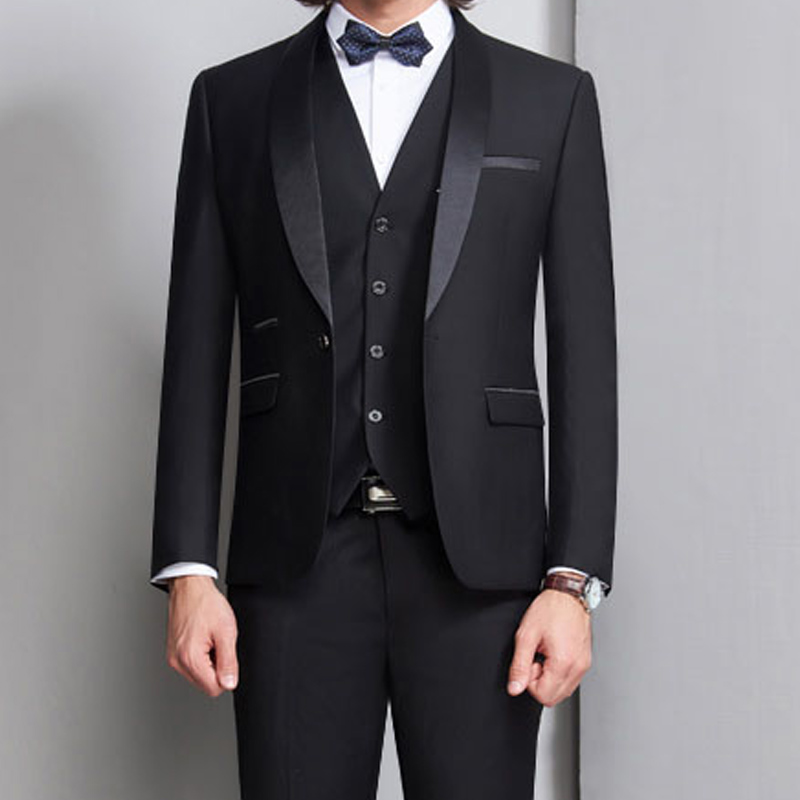 Black Groom Tuxedos For Wedding Prom Men Suits 3 Piece Smoking Formal Slim Fit Ceremony Male Clothes Set Vest Jacket Pants Vest
