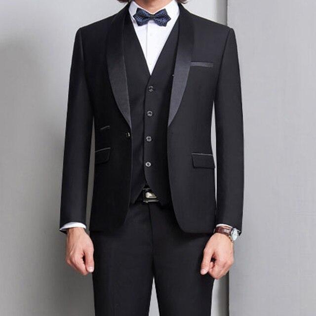 Noir marié Tuxedos pour mariage bal hommes costumes 3 pièce fumer formel Slim Fit cérémonie mâle vêtements ensemble gilet veste pantalon gilet