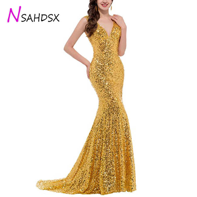 Mermaid Sequin Evening Long Dressrs 2019 Women New Sexy Gold Multi color Banquet Party Sequin Evening