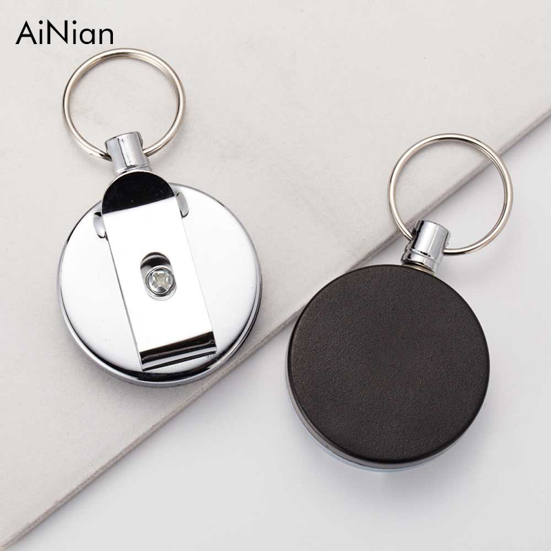 AiNian 2017 New High Quality Wholesale Retractable Metal Card Badge Holder Steel Recoil Ring Belt Clip Pull Key Chain