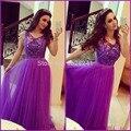Nueva llegada 2016 Purple vestidos fiesta con cuentas de encaje palabra de longitud larga vestidos de noche elegante indio vestido de novia
