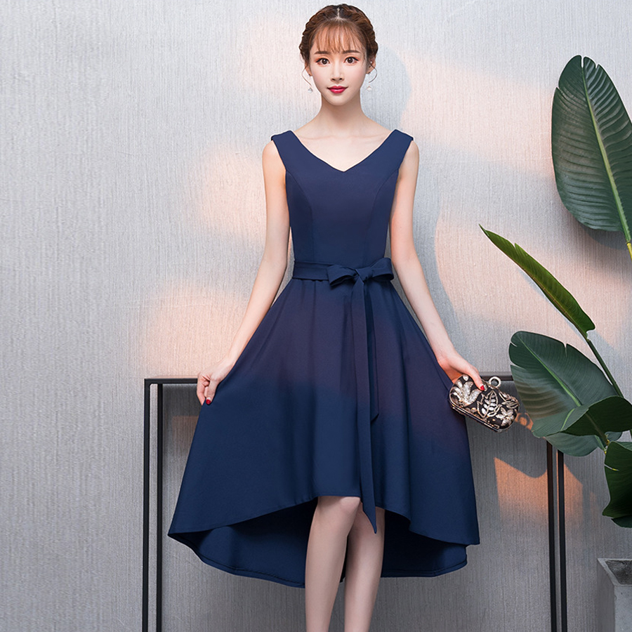 vestidos de boda invitados new chiffon sexy V neck simple high low navy blue   bridesmaid     dress   Tea wedding party gown under $30