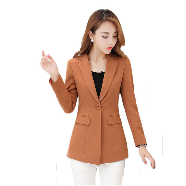 2018 Spring Autumn New Women's Small Suit Jacket Solid Color Single Button Slim OL Ladies Blazer Coat Plus Size 4XL LQ181