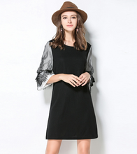 Floral printed Holiday Frill Dress Black Neckline round neck Women Summer Dresses 2017 Cute Layered Casual Dress 886A