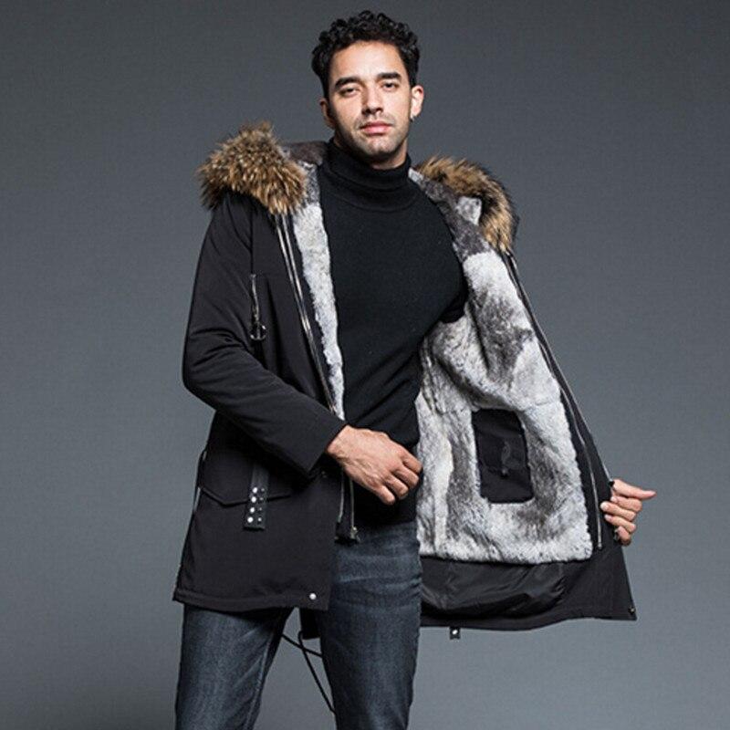 Настоящая меховая парка мужские толстые теплые зимние куртки и пальто с капюшоном Длинная Куртка из натурального меха енота хип хоп мужска