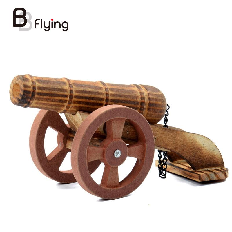Wooden Simulation Cannon Car Model Kids Toys Crafts Collectable Office Decor