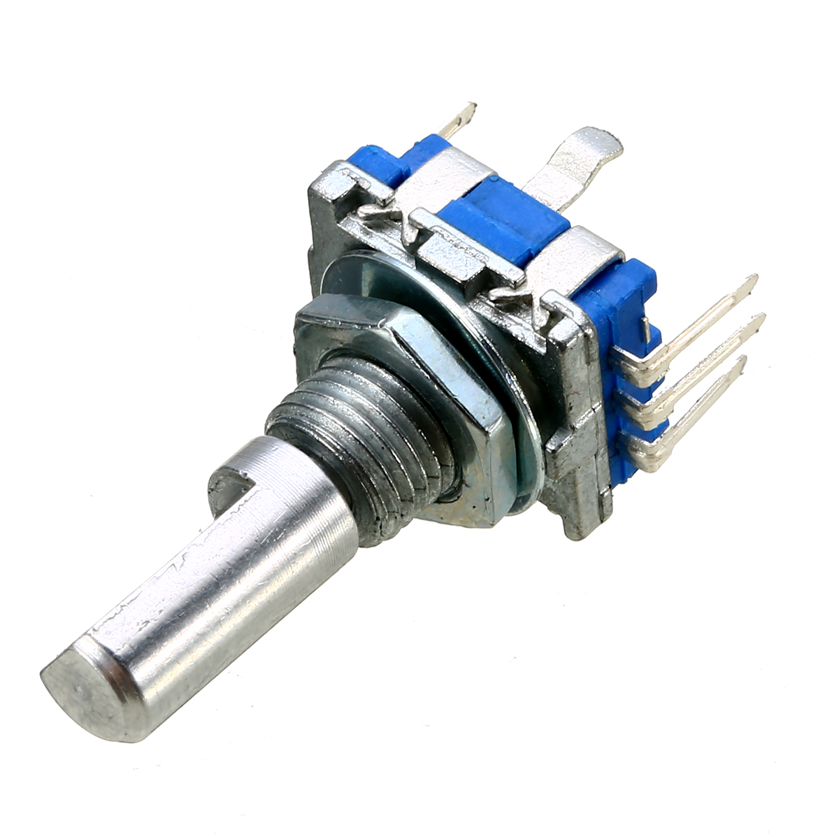 3pcs Durable Rotary Encoder With Push Button 6mm Shaft Diameter 20 Position 360 Degree Blue Encoder Push Switches Mayitr