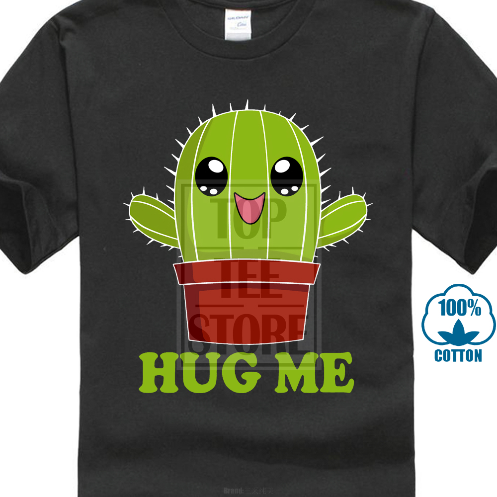 Newest 2017 Men's Fashion T Shirt Cactus <font><b>Hug</b></font> <font><b>Me</b></font> T Shirt Funny <font><b>Tshirt</b></font> Cactus Shirt Funny Shirt The Mountain Kawaii image