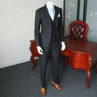 Деловой повседневный мужской костюм, свадьба в Европейском стиле, костюм для мужчин, серый костюм в полоску, Блейзер, пальто, костюм из трех