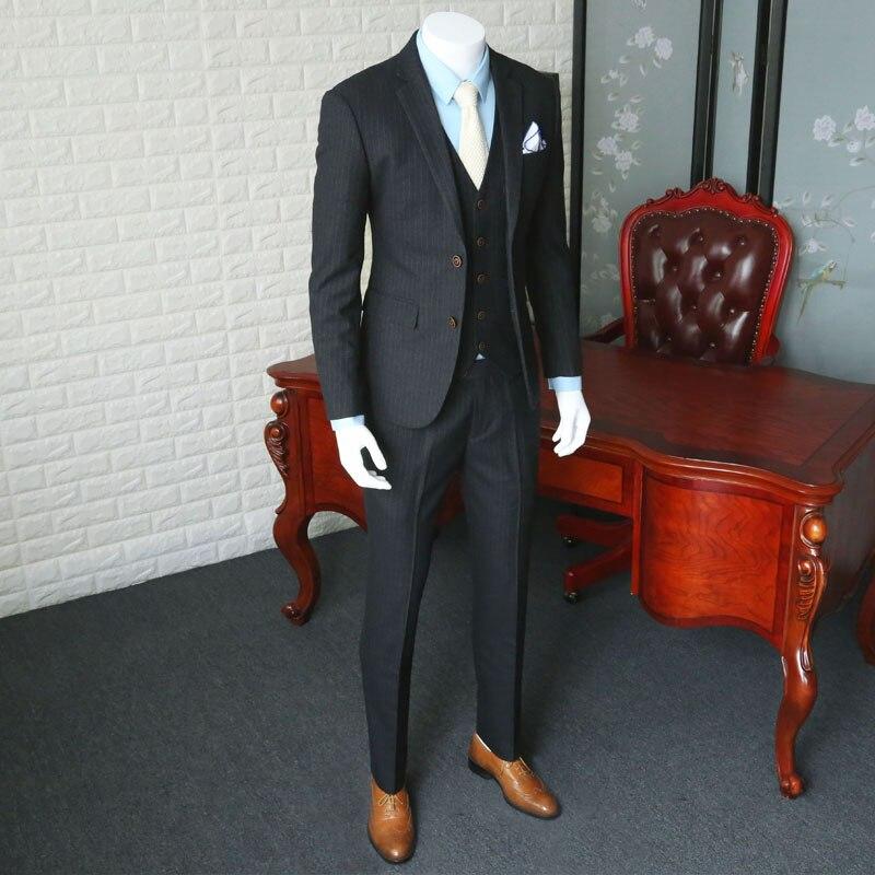 Costume décontracté pour hommes d'affaires costume de mariage de style européen pour hommes costume à rayures grises Blazer manteau trois pièces costumes pour hommes de bal 365wt20