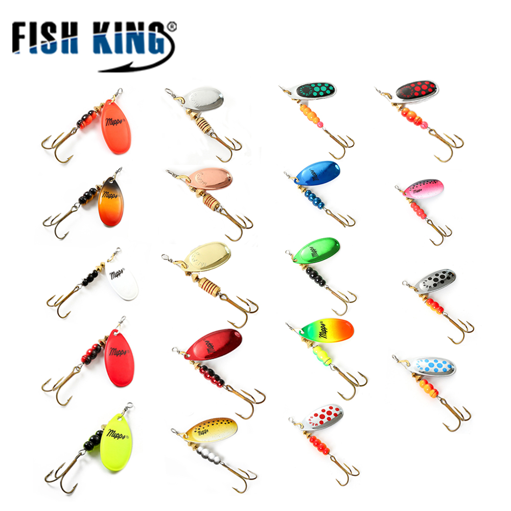 FISH KING 3Pcs Spinner Bait Mepps Metal Fishing Lure Bass Hard Baits Spoon With Copper Treble Hook Hard Lures Fishing Tackle dagezi metal spinner spoon fishing lure hard baits sequins noise paillette with feather treble hook tackle 10 15 20g