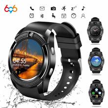 696 V8 wodoodporna smart watch mężczyzn sportu Bluetooth zegarki kobiety zegarek na rękę z aparatem fotograficznym gniazdo karty SIM telefonu z systemem Android PK DZ09 tanie tanio System operacyjny Android 128 mb Passometer Uśpienia tracker Wybierania połączeń Budzik Tracker fitness Odpowiedź połączeń