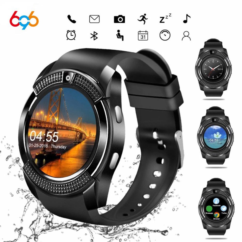 696 v8 à prova dbluetooth água relógio inteligente dos homens bluetooth esporte relógios relógio de pulso feminino com câmera/slot para cartão sim telefone android pk dz09