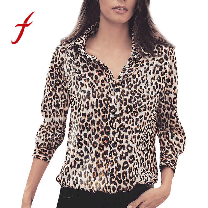 Shirts women New Arrival 2019 Women's Summer Long Sleeve Leopard Print T-Shirt Turn-down collar female T-shirt 3 color t shirts