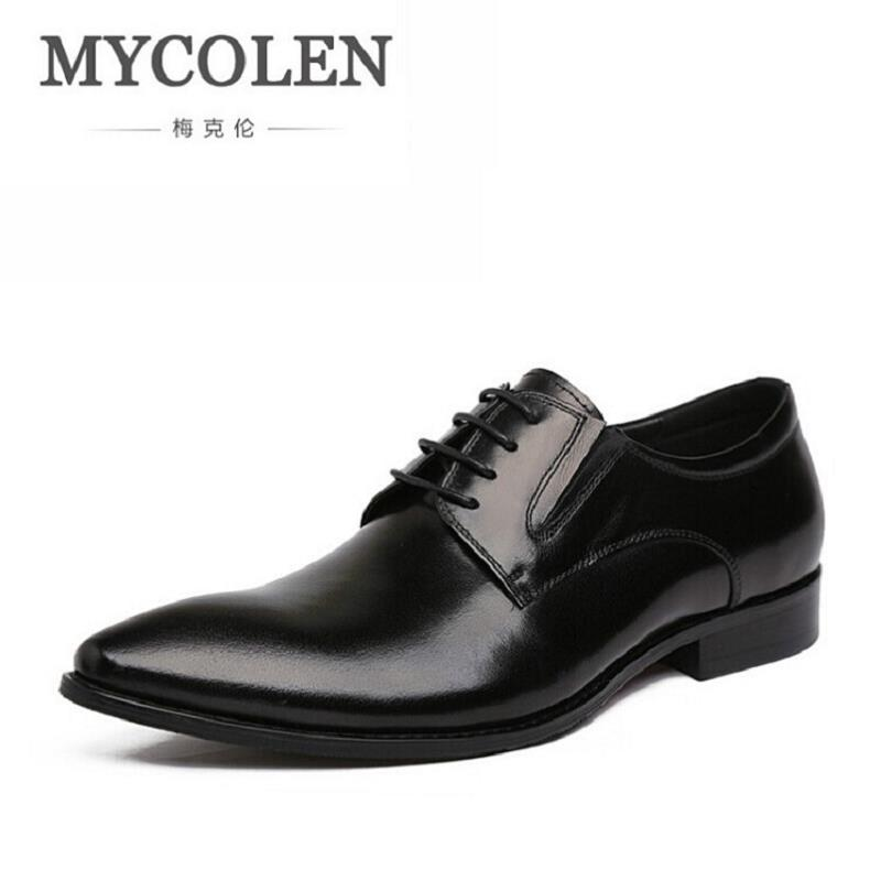 MYCOLEN Brand Men Business Leather Shoes Luxury Brand Men Formal Dress Shoes Pointed Toe Derby Shoes zapatos hombre vestir new arrival men casual business wedding formal dress genuine leather shoes pointed toe lace up derby shoe gentleman zapatos male