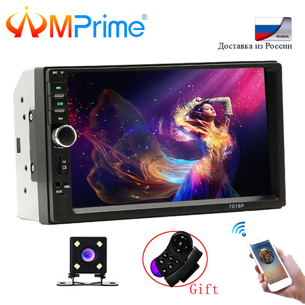 AMprime Car Multimedia Player Universal Car MP3 Player 7Touch Car Radio BT MP5 Car autoradio Audio Stereo With Rear View Camera