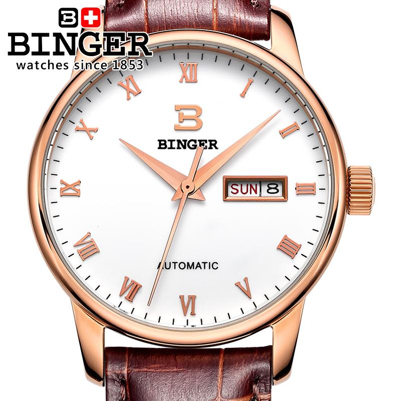 ФОТО Switzerland watches men luxury brand BINGER business Mechanical Wristwatches leather strap Water Resistance BG-0397-6