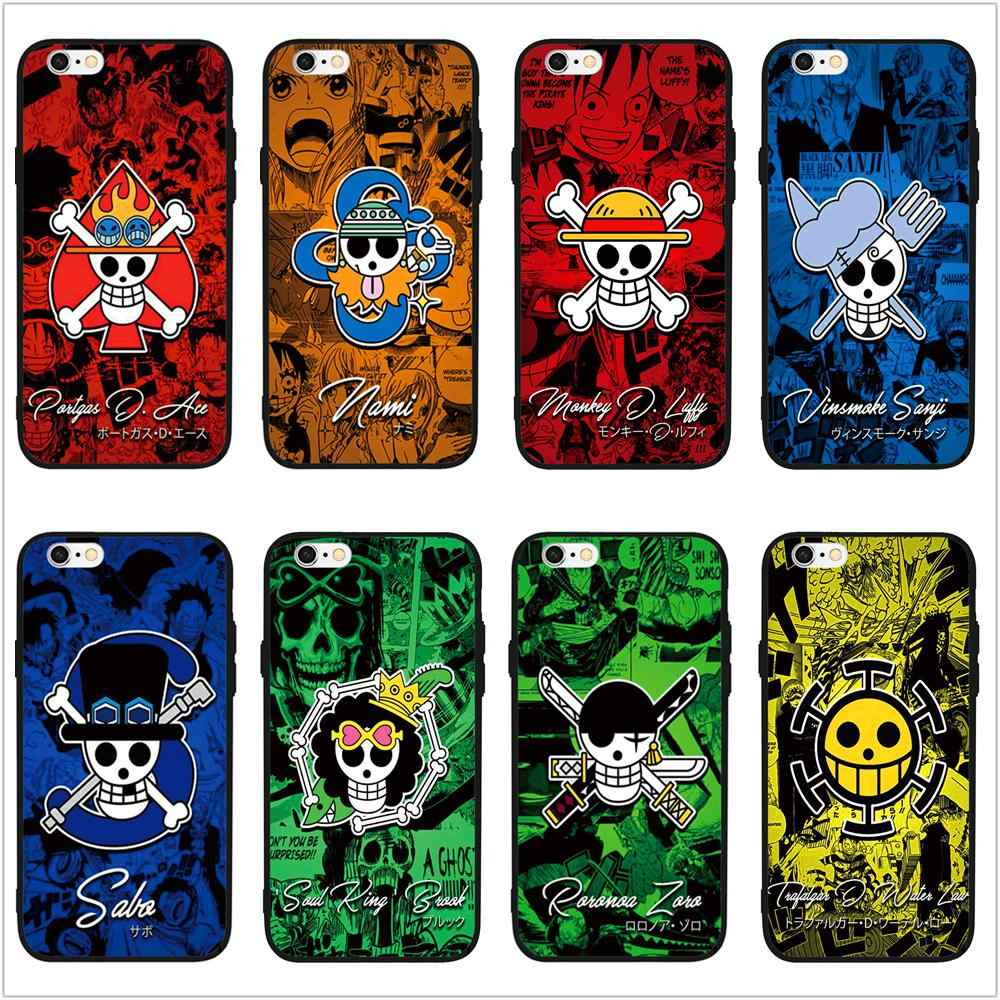 Fatperson Black Case For Iphone X 10 8 7 Plus Funny One Piece Art Collage Wallpaper Phone Cover For Iphone 6s 6 5s 5 Se Shell