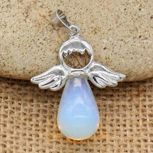 100-Unique Trendy 1 Pcs Silver Plated Opalite Opal Water Drop Cute Angel Wing Pendant