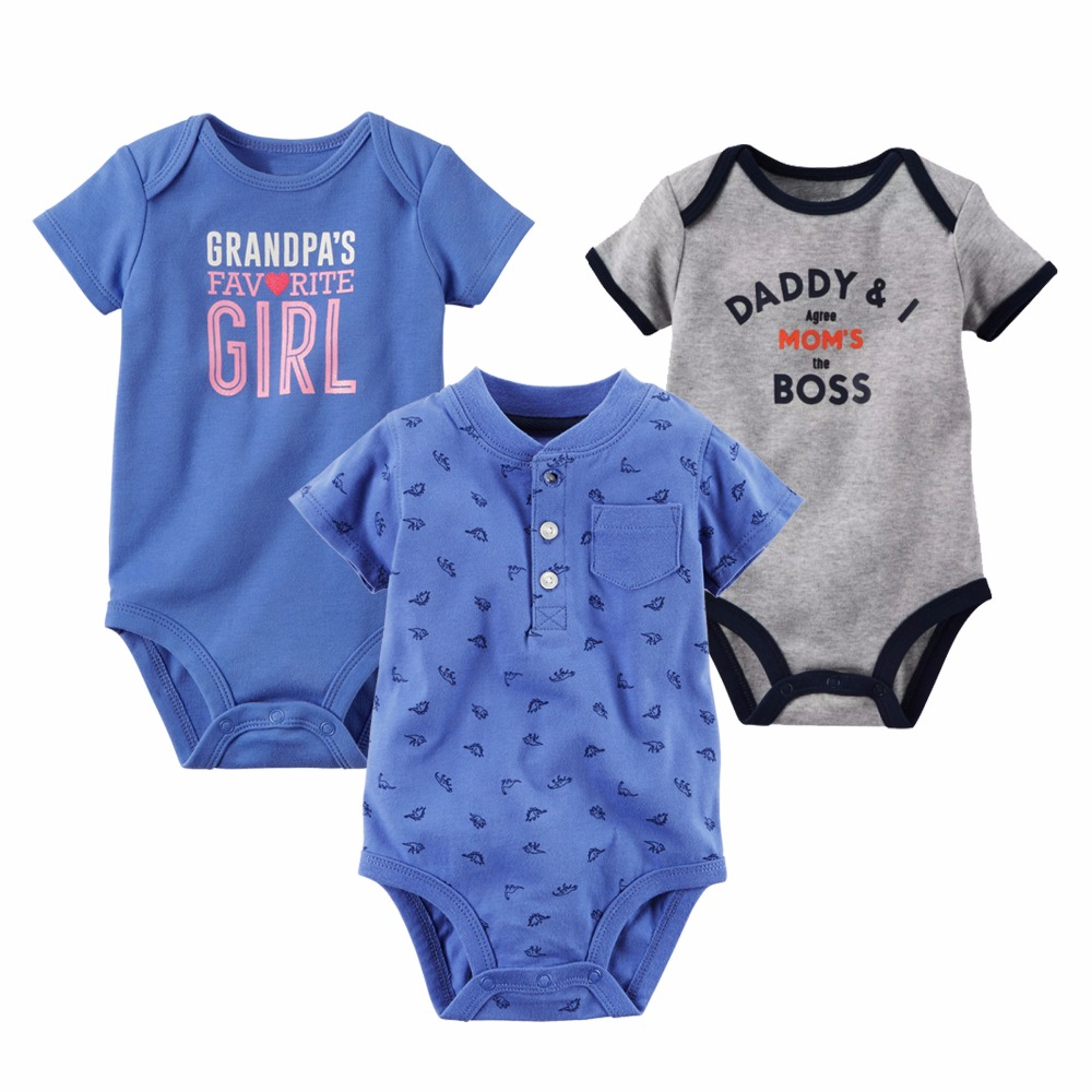 525ac3ec4 New Baby Bodysuit Lovely Printing Infant Jumpsuit Pure Cotton Short Sleeve  Boys Girls Baby Clothes