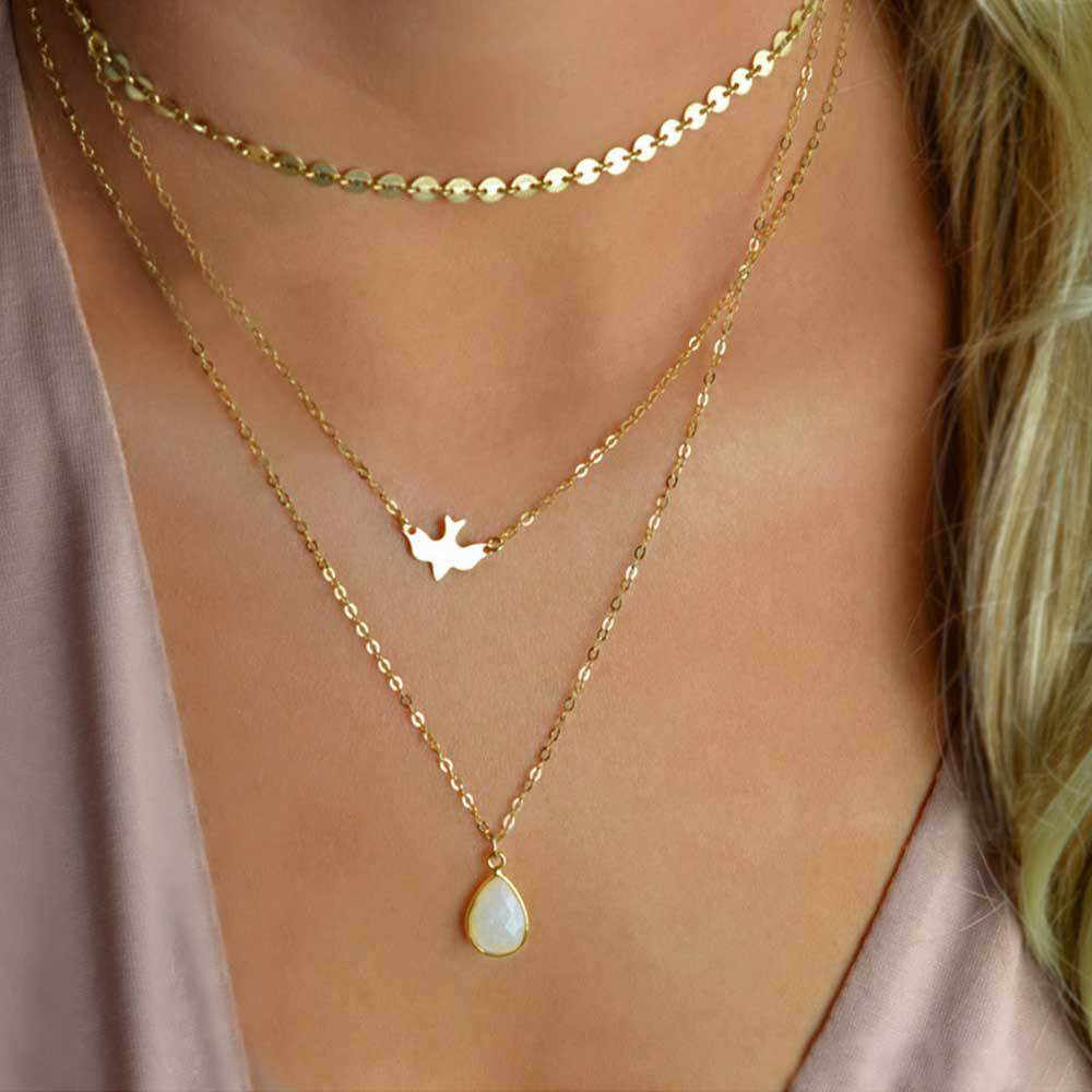 Layer necklace handmade round sequin chain peace dove bird drop pendant Valentine's gift collares