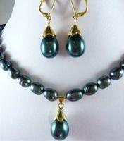 Perle parures choker maxi pour femmes charmes plaqué mot fine 7-9mm noir perle collier shell perle boucle d'oreille ensemble