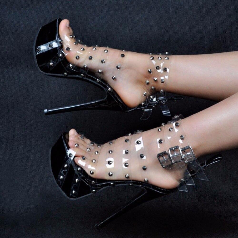 Womens Fashion PVC Leather Stud Rivet Buckle Open Toe Stiletto High Heel Dress Pumps Sexy Shoes XD254 denim zipper hollow worn stiletto womens sandals