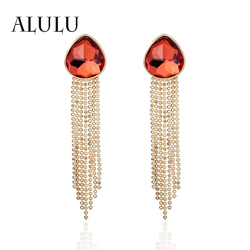 ALULU Romantisch rood kristal Vrouwen oorbellen Kwastje Dangle - Mode-sieraden
