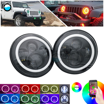 """Pair 7 inch LED RGB Headlight for Jeep Wrangler JK 7"""" Round DRL Headlamp Bluetooth Color Changing Halo LED Headlights  ."""