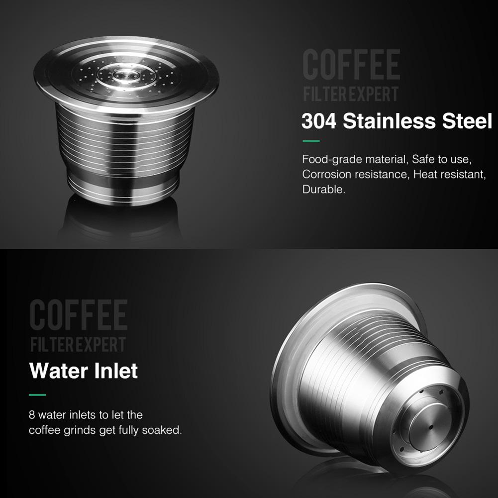 Newly Stainless Steel Reusable Refillable Coffee Pod Filter with Press Tamper Coffeeware Set TE889