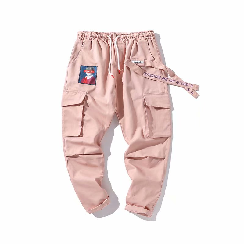 WKOUD Women's Cargo Pants Drawstring Waist Letters Printed Sweatpants Pink Big Pockets Ankle-Length Trousers Female Pants P8918